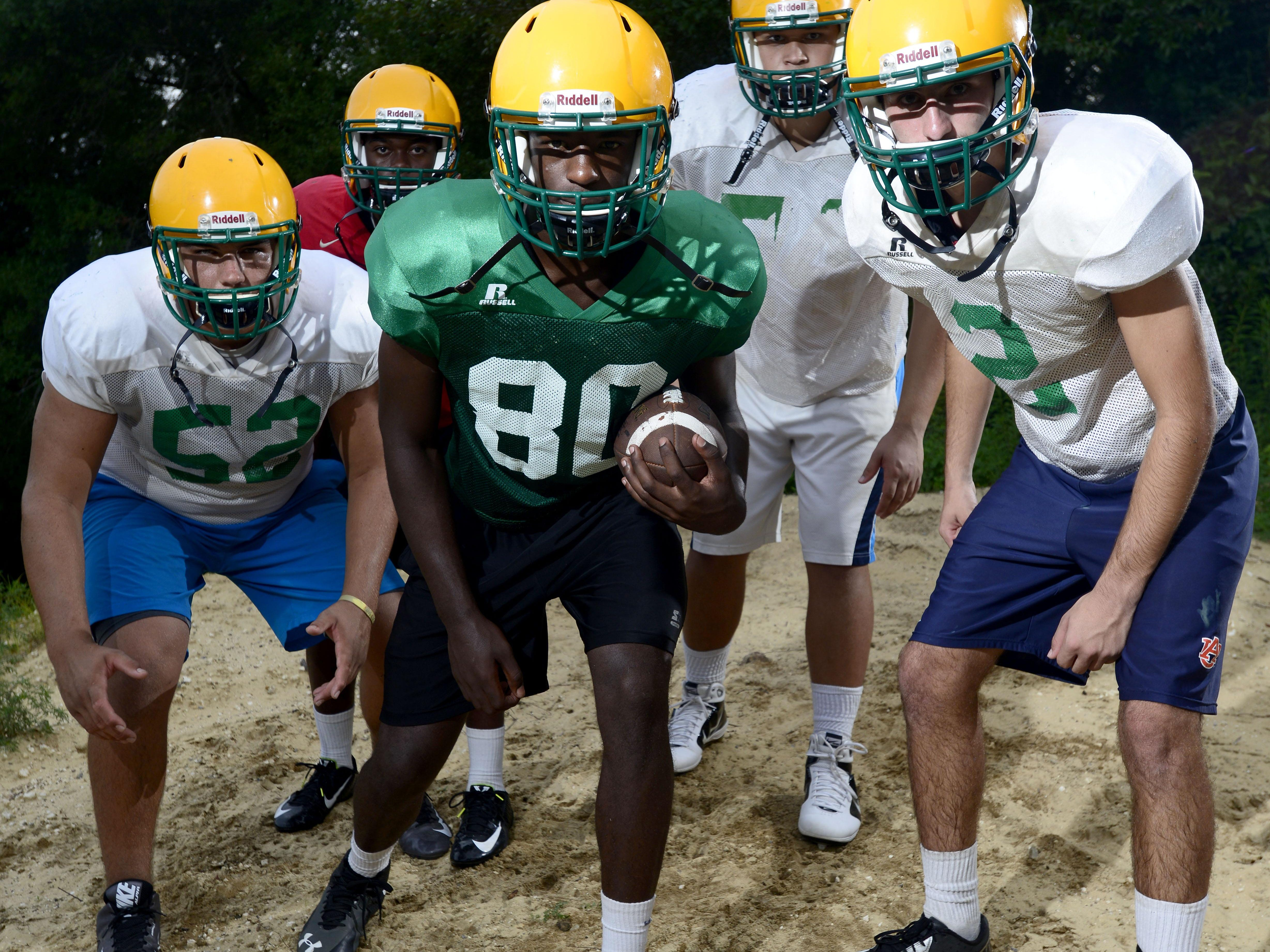 Catholic High School players are , from left, Blake Brazwell, Zkhari Blocker, Darrien Brown, Ethan Watson and A.J. Yates.