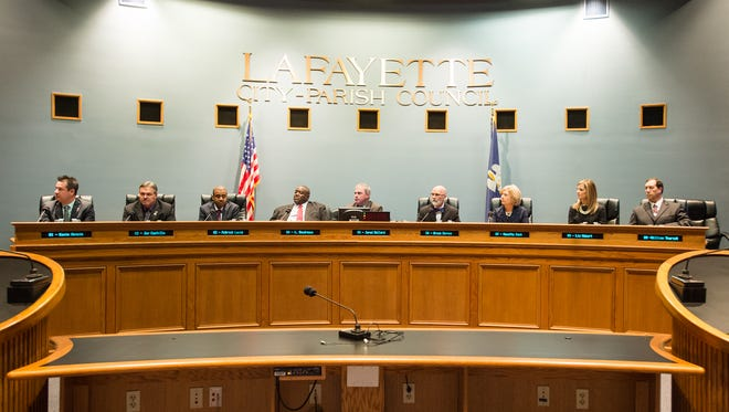 Lafayette City-Parish Council members take the oath of office on Jan. 4, 2016. On Sept. 18, 2018, the council voted on a resolution expressing opposition to the Lafayette Public Library's drag queen story time.