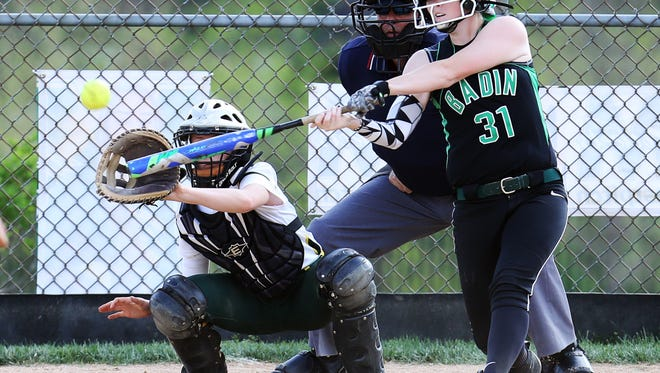 Badin's Lexi Wurzelbacher gets a base hit for the Rams. Badin defeated McNicholas 12-0 in 5 innings.