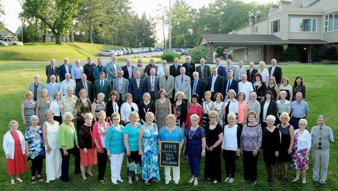 Members of the Hanover High School graduation class of 1966 are, front row, from left: Judy (Wagaman) Laughman, Sharon (Fuhrman) Saltzgiver, Marj (Menchey) Bernstein, Peach (James) Staley, Connie (Hershey) Lawrence, Pat (Stambaugh) Ruth, Barb (Phillips) Reynolds, Pat (Dusman) Russell, Barb (Unger) Nowe, Connie (Warner) Hamilton, Linda (Webb) Linebaugh, Sally (Fuhrman) Zartman, Penny (Ernst) Miller, Judy (Eichelberger) Smith, Sally (Leister) Howe, Edie (McDermitt) Springfloat, Landy (Becker) Grimm and Dave Dell; second row: Carol (Brown) Moffitt, Cathy (Cunningham) Grimm, Barb (Colehouse) Grim, David Stambaugh, Winnie (Eckard) Miller, Vickie (Wildasin) Harman, Debby (Swisher) Horn, Kathy (Sabaka) Keffer, Diane (Mavros) Hoffman, Elaine (Maust) Bobick, Cathy (Hoover) Schaeffer, Bonnie (Long) Walker, Sandy (Mann) Cromer, Pam (Miller) Mosher, Diane (Doukas) Parent, Brenda (Colehouse) Moxley, Loni (Lafferty) Eyler, Carol (Laughman) Rhoten, Barb (Brubakerr) Bergman and Mike Hampton; third row: Jim Hoover, Ray Deardorff, Dick Resh, Doug Sell, Jim Hull, Dick Mondorff, Greg Martin, Rod Naugle, Phil Wilson, Mike Dubbs, Joe Delozier, Mike Weller, Bill Rohde, Bill Miller, Eileen (Morelock) Meyer, Debbie (Stahl) Miller, Kay (Hoffacker) Edwards and Cindy (Sheely) Morris; back row: Mike Zinn, Dan Kessel, Wayne Laughman, Kent Mason, Bob Wantz, Ed Abendschein, Ken Marchio, Mike Loss, Harold Flickinger, Don Fields, Scott Bair, Rick Contel, Mike Hoffman, Tom Showalter, Ted Nace, Dick Hetrick, Wayne Rohrbaugh, Nancy (Leaman) Wolfe and Jim Baumgardner.