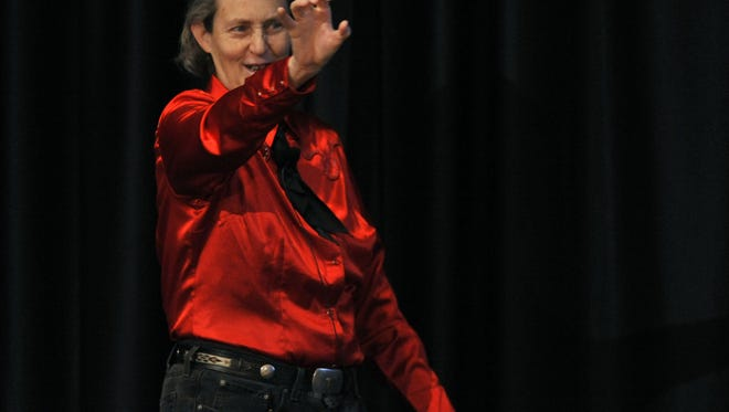 "Dr. Temple Grandin, CSU professor and subject of the recent Emmy award winning HBO movie ""Temple,"" delivers the key note presentation during Austism Risk Management Safety Training at CSU Lory Student Center Sunday March 13, 2011."