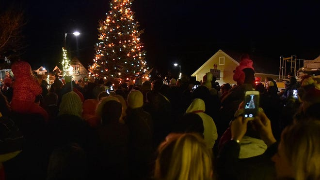The Egg Harbor Christmas tree shines above the 300 or so people gathered around it at Harbor View Park in Egg Harbor for last year's lighting ceremony.