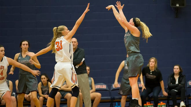Franklin's Holly Harris shoots from outside against Dickson County's Sierra Morgan.