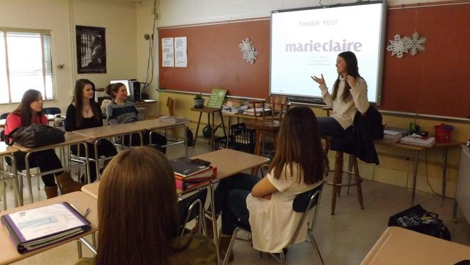 Lauren Mazzo speaks to students at Webster Thomas High School on Jan. 7 to talk to Mary Heveron-Smith's journalism class about internships.
