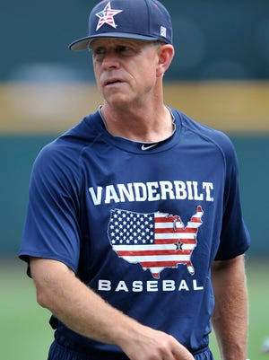 Vanderbilt coach Tim Corbin is seen during practice at the College World Series at TD Ameritrade Park in Omaha, Neb., Sunday, June 22, 2014.