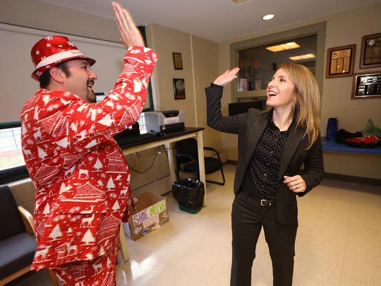 Dressed in holiday attire, instrumental music teacher  Joe Verderese in the main office with Melissa Cavins, who will be starting as the Cresskill High/Middle School's assistant principal in January.