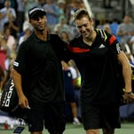 James Blake and Jack Sock after their loss to Alexander Peya of Austria and Bruno Soares of Brazil.