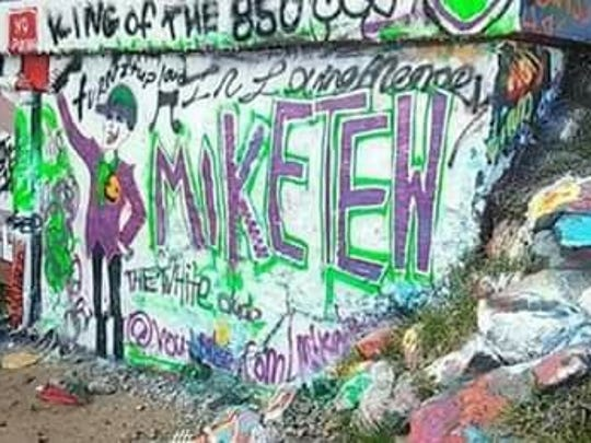 The Graffiti Bridge in Pensacola shows a memorial to Michael Tew, a Milton resident and musician who died after he was hit by a car on May 8, 2018 while walking on U.S. 90 in Pea Ridge