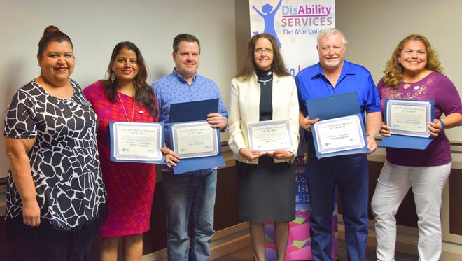 "Del Mar College's Disability Services Office and awards organizer Brenda Garcia (from left) recognized Neetu Kaushik, Dale Anderson, Gail Dorn, Randall Glasson, and Benita Flores-Muñoz (not pictured: Paul McCann and Charles Hinton) as 2016 ""Advocates of the Year"" for actively supporting students with ""disAbilities."""