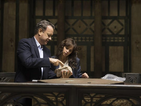 "In this image released by Sony Pictures, Tom Hanks, left, and Felicity Jones appear in a scene from, ""Inferno."" (Jonathan Prime/Sony Pictures via AP)"