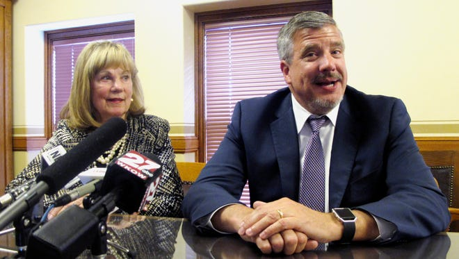 Co-chairs of the Wisconsin state Legislature's budget–writing Joint Finance Committee, Sen. Alberta Darling, left, and Rep. John Nygren, field questions before the first day of voting on the $76 billion spending plan on May 1 in Madison.