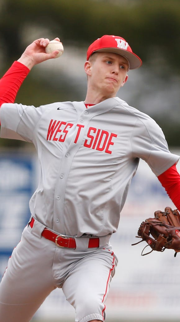 West Lafayette reliever Luke Touloukian with the delivery