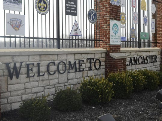 lancaster city sign PRESTO STOCK