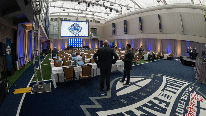 Jul 16, 2018; Atlanta, GA, USA; A general view of the press conference room during SEC football media day at College Football Hall of Fame.