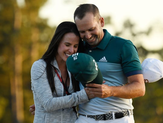 In 2017, Sergio Garcia celebrated with Angela Akins,