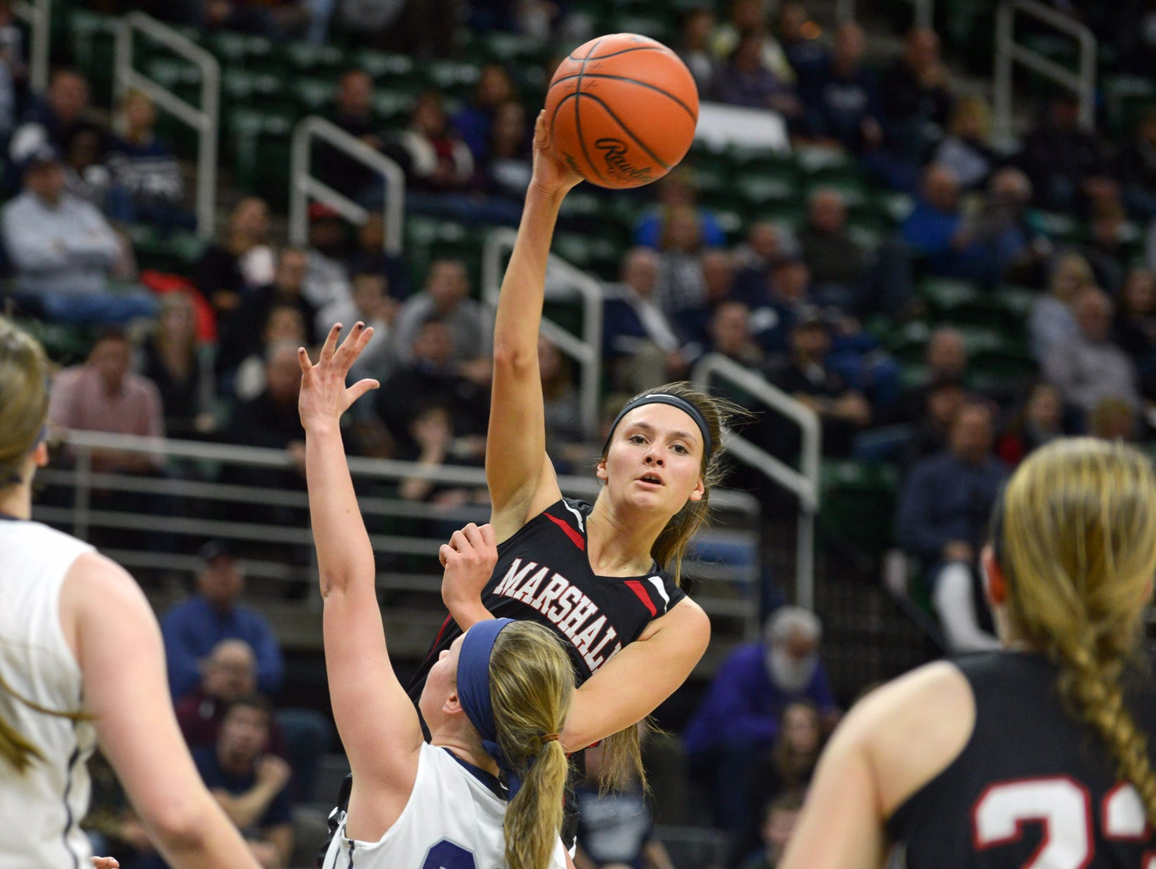 Emily Delmotte, the lone senior on Marshall's 2015-16 Class B state championship team.