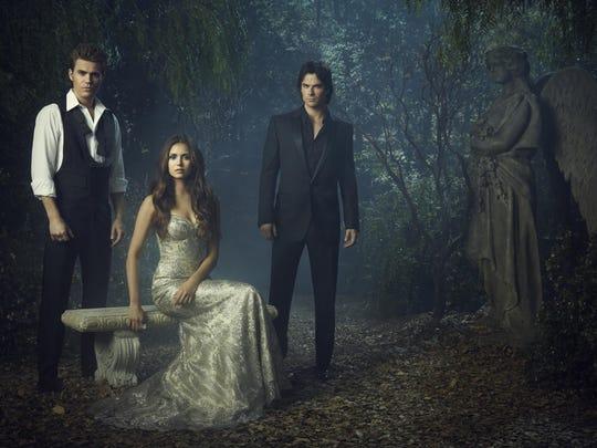 "Paul Wesley as Stefan, Nina Dobrev as Elena, and Ian Somerhalder as Damon in ""The Vampire Diaries."""