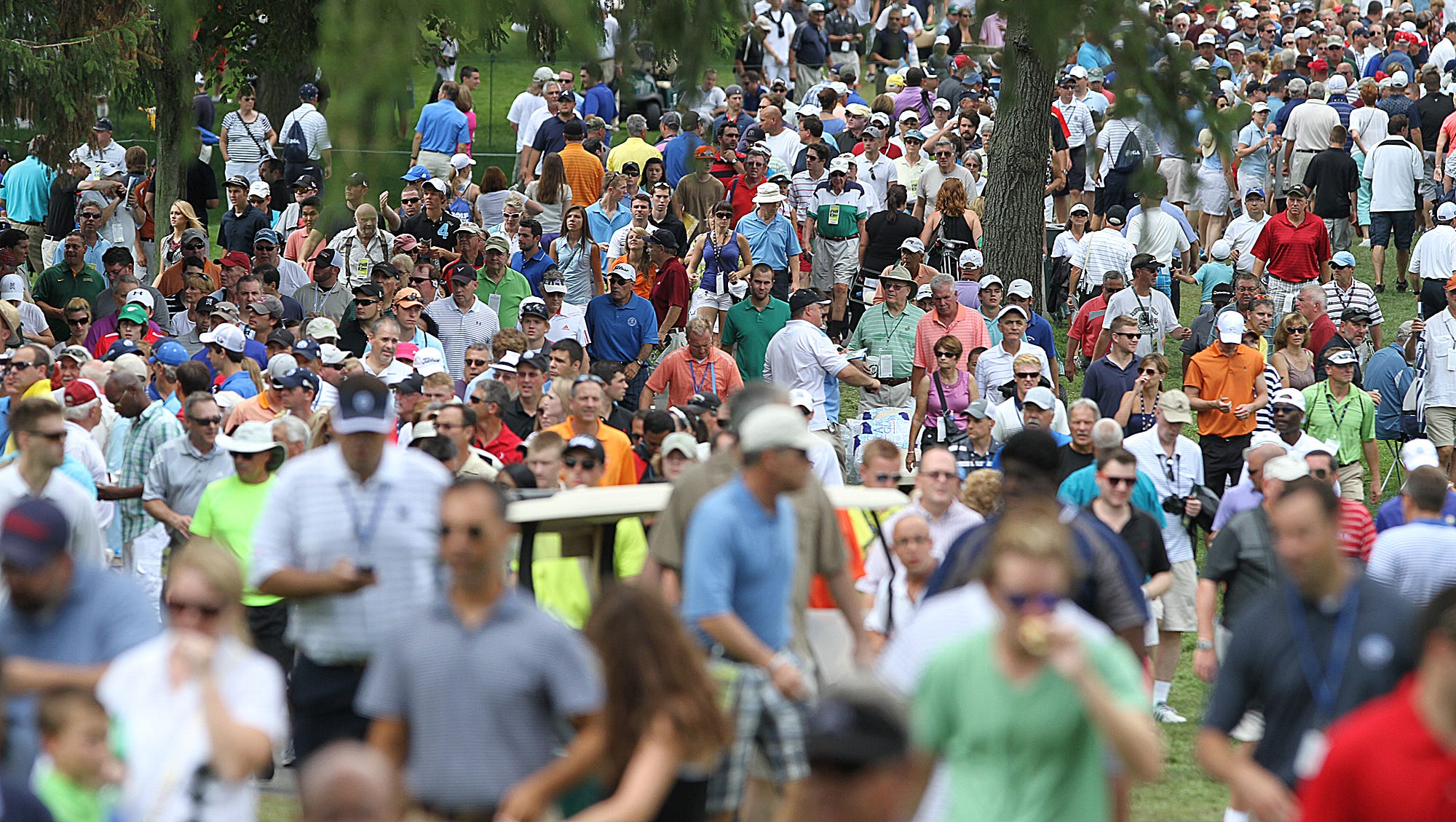Crowds were large during the opening round of the PGA Championship.