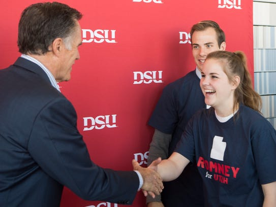U.S. Senate candidate Mitt Romney meets with students