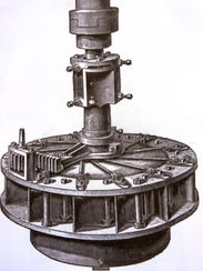 An artists rendering of an old mill turbine similar