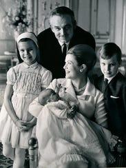 Prince Rainier of Monaco, with Princess Grace and their