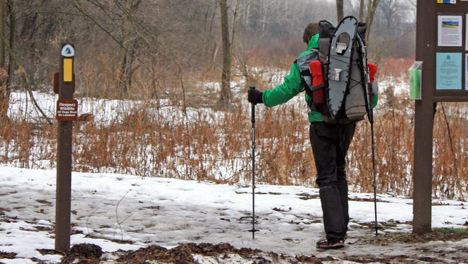 Mike Summers heads down the Eagle segment of the Ice Age Trail near Dousman.