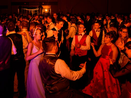 A scene from the dance floor during Boonville High School's Welcome to Neverland themed prom at the Old National Events Plaza in Evansville, Ind., Saturday evening, April 28, 2018. Over 360 tickets were sold for the school's prom.