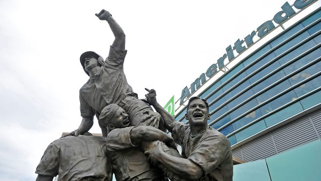 The Road to Omaha sculpture stands outside TD Ameritrade Park in Omaha.
