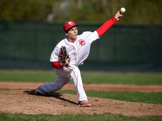 Seton's Louie Falcone pitches to Centerville Saturday, April 1, 2017 during a baseball game on John Cate Field at McBride Stadium in Richmond.
