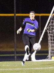 Notre Dame goalkeeper Taylor Gray boots the ball deep Friday against Waverly.