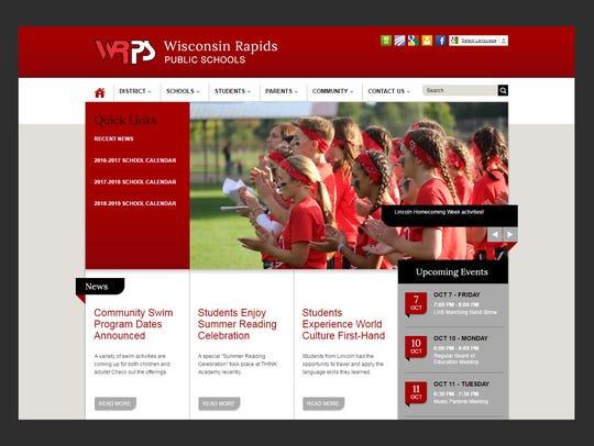 The Wisconsin Rapids Public School District homepage,