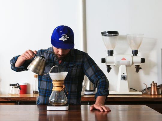 Chris Heiniger of Good Folks Coffee shows how to make a good cup of coffee at home. It includes a Chemex brewing glass, a pouring kettle with hot water ranging from 200 to 210 degrees and some quality, freshly ground coffee beans like Louisville's Good Folks Coffee Company carry.
