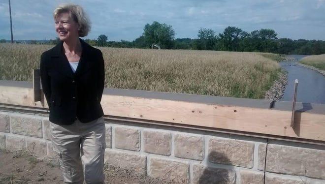 U.S. Sen. Tammy Baldwin, D-Wis., tours Wausau's East Riverfront Development area on Thursday.