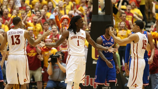 Iowa State Jameel McKay reacts after being fouled after making a shot in the lane during an NCAA college basketball game between Iowa State and Kansas on Saturday. Iowa State won 86-81.
