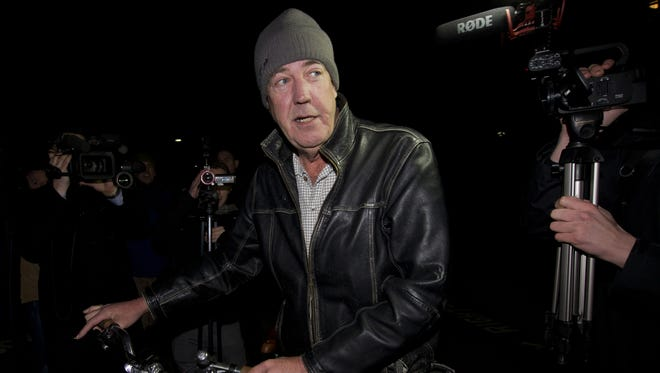 British TV presenter Jeremy Clarkson leaves his flat in west London.