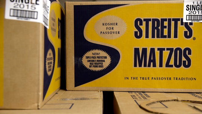 Boxes of matzos sit in the Streit's matzo factory in New York City's Lower East Side.