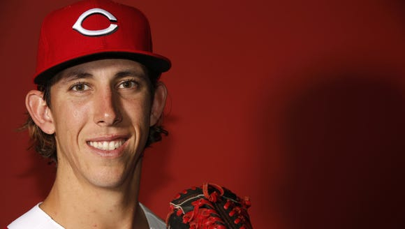 Pitcher Michael Lorenzen poses for a portrait on Picture