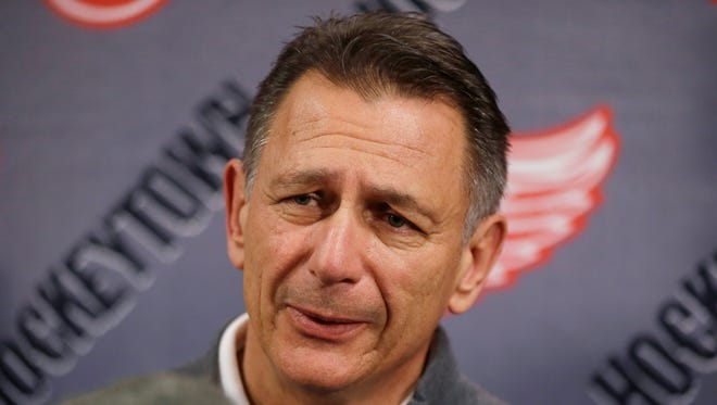 Detroit Red Wings general manager Ken Holland addresses the media May 20, 2015, in Detroit.