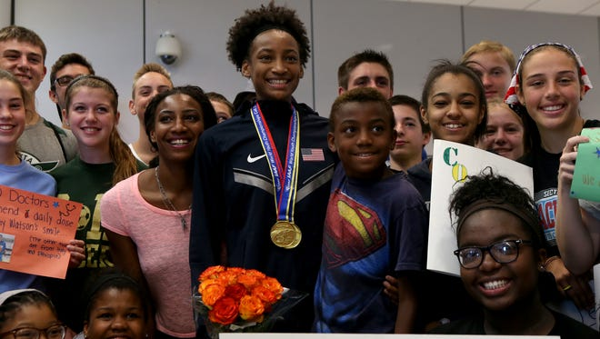 Sammy Watson, shown here after her return from the 2015 IAAF World Youth Championships, was named an All-American by MileSplit