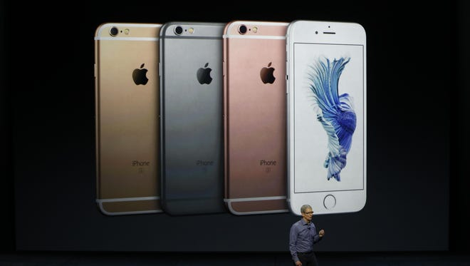 Apple CEO Tim Cook speaks about the new iPhone 6S and 6S Plus during a special event at Sept. 9 at Bill Graham Civic Auditorium in San Francisco, California.