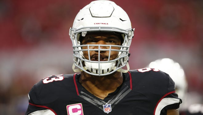 Arizona Cardinals' Calais Campbell during pregame warm-ups before playing the St. Louis Rams on Oct. 4, 2015 in Glendale, Ariz.