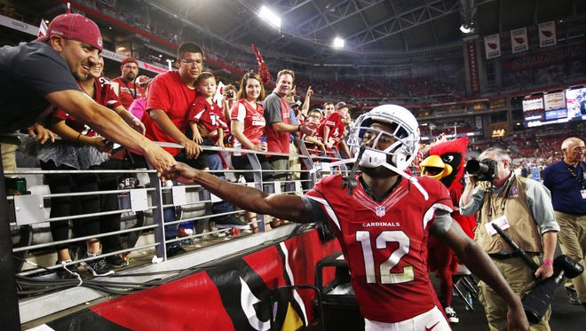 Arizona Cardinals John Brown celebrates their victory over the Baltimore Ravens on Oct. 26, 2015 in Glendale, Ariz.
