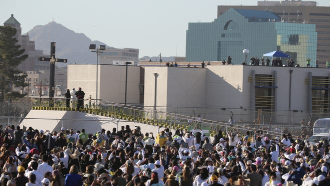 Pope Francis climbed the ramp to lay flowers at the three crosses at the papal Mass during his visit to Juárez on Feb. 17. He also turned toward the United States and blessed people along the El Paso side of the Rio Grande. Crews are preparing to remove the ramp, but the metal crosses at the top will likely remain near the site.