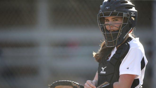 NFC's Chloe Culp, a freshman and FSU commit, catches against Aucilla Christian on Tuesday. Culp entered hitting .723 with 7 HR.