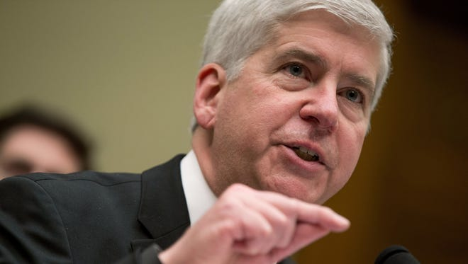 Michigan Gov. Rick Snyder testifies before a House Oversight and Government Reform Committee hearing in Washington, Thursday, March 17, 2016.