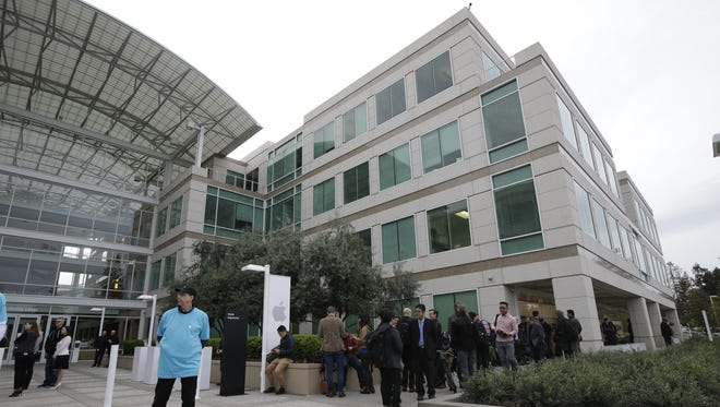 The exterior of Apple headquarters is seen before an event to announce new products at the company's headquarters on March 21, 2016, in Cupertino, Calif.