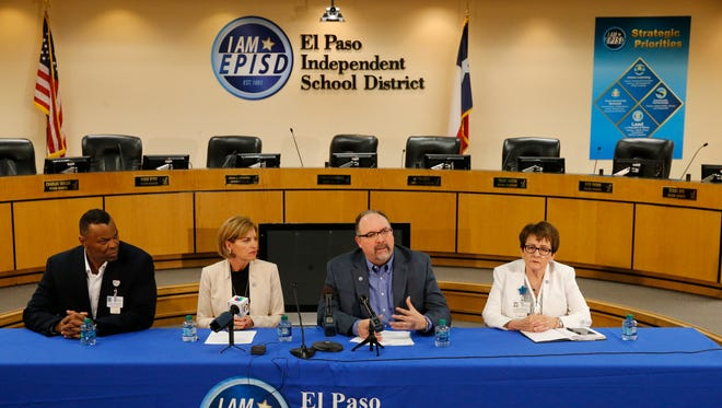 El Paso Independent School District officials speak at a news conference Wednesday afternoon at district headquarters about the effort to prevent illegal actions in the district. From left are Assistant Superintendent for Human Resources Vince Sheffield, board President Dori Fenenbock, Superintendent Juan Cabrera and Associate Superintendent of School Leadership Ivonne Durant.
