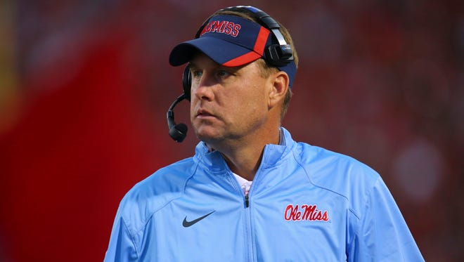 Sep 27, 2014; Oxford, MS, USA; Mississippi Rebels head coach Hugh Freeze during the game against the Memphis Tigers at Vaught-Hemingway Stadium. Mandatory Credit: Spruce Derden-USA TODAY Sports