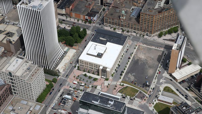 Aerial view of the Midtown area of downtown Rochester.