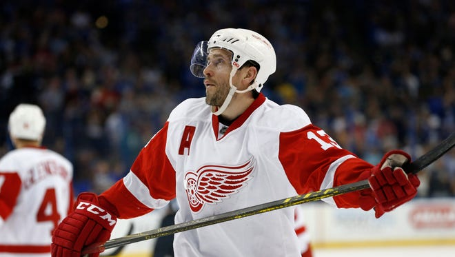 Detroit Red Wings center Pavel Datsyuk (13) looks on after losing to the Tampa Bay Lightning in  game five of the first round of the 2016 Stanley Cup Playoffs at Amalie Arena last season.